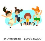 happy kids jumping and... | Shutterstock .eps vector #1199356300