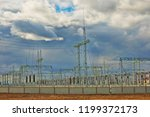 power distribution station on... | Shutterstock . vector #1199372173