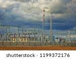 power distribution station on... | Shutterstock . vector #1199372176
