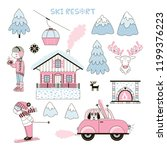 set of cute girl like ski... | Shutterstock .eps vector #1199376223