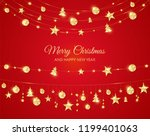 christmas golden decoration on... | Shutterstock .eps vector #1199401063