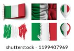 set of italy flags collection... | Shutterstock .eps vector #1199407969