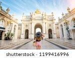 young woman tourist enjoying... | Shutterstock . vector #1199416996