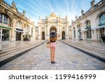 young woman tourist enjoying... | Shutterstock . vector #1199416999