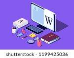 isometric concept for blog ...   Shutterstock .eps vector #1199425036