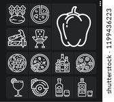 set of 13 wooden outline icons... | Shutterstock .eps vector #1199436223