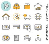 logistics flat line icons. set... | Shutterstock .eps vector #1199442463