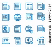 Stock vector news flat line icons set of article media paper document information and more editable stroke 1199442469