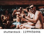 young friends with alcoholic... | Shutterstock . vector #1199456446