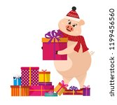 nice pig carries a gift....   Shutterstock .eps vector #1199456560