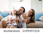 happy family having fun time at ... | Shutterstock . vector #1199457223