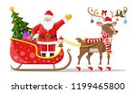 santa claus on sleigh full of... | Shutterstock .eps vector #1199465800