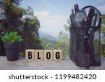 conceptual    blog  written on...   Shutterstock . vector #1199482420