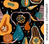 seamless autumnal pattern with... | Shutterstock .eps vector #1199486659