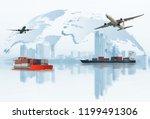 transportation  import export... | Shutterstock . vector #1199491306
