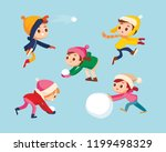 children playing snowball fight ... | Shutterstock .eps vector #1199498329