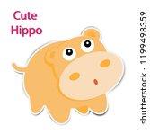 cute paper hippopotamus on... | Shutterstock .eps vector #1199498359