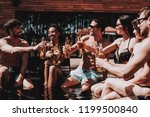 young friends with alcoholic... | Shutterstock . vector #1199500840