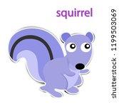 lovely paper squirrel on white... | Shutterstock .eps vector #1199503069