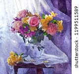 bouquet of bright fresh roses.... | Shutterstock . vector #1199511589