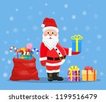 happy santa claus with presents ... | Shutterstock .eps vector #1199516479