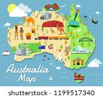 map of australia attractions... | Shutterstock .eps vector #1199517340