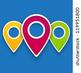 vector color gps pin icons for... | Shutterstock .eps vector #119951800