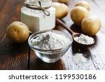 potato starch in a glass bowl...   Shutterstock . vector #1199530186