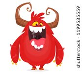 funny cute monster cartoon with ... | Shutterstock .eps vector #1199535559