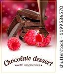 raspberry chocolate dessert....   Shutterstock .eps vector #1199536570