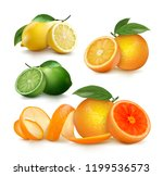 Fresh Citrus Fruits Whole And...