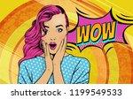wow pop art face. sexy... | Shutterstock .eps vector #1199549533