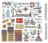denmark symbols and cute icons... | Shutterstock .eps vector #1199550640