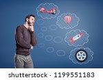 a thinking man stands near... | Shutterstock . vector #1199551183