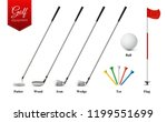 various golf equipment set with ... | Shutterstock .eps vector #1199551699