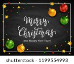 lettering merry christmas and... | Shutterstock . vector #1199554993