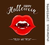 vampire lips with fangs and... | Shutterstock . vector #1199554996