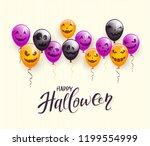 lettering happy halloween on... | Shutterstock . vector #1199554999