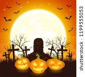 orange halloween background... | Shutterstock . vector #1199555053