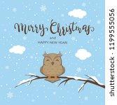 lettering merry christmas on... | Shutterstock . vector #1199555056