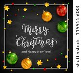 lettering merry christmas and... | Shutterstock . vector #1199555083