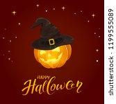 lettering happy halloween with... | Shutterstock . vector #1199555089