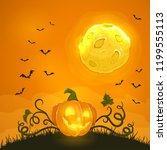 lettering happy halloween on... | Shutterstock . vector #1199555113
