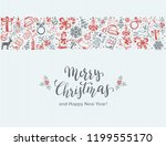 merry christmas with decorative ... | Shutterstock . vector #1199555170