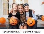 portrait of cute caucasian kids ... | Shutterstock . vector #1199557030