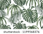 tropical leaves  monstera ... | Shutterstock .eps vector #1199568376