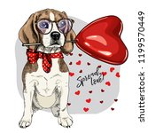 hand drawn beagle with heart... | Shutterstock .eps vector #1199570449