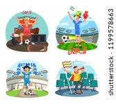 set of isolated soccer fans... | Shutterstock .eps vector #1199578663