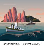 fisherman boat at storm. sunset ... | Shutterstock .eps vector #1199578693