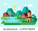 scenery view on village at... | Shutterstock .eps vector #1199578699